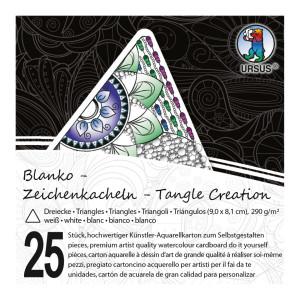 """Zeichenkacheln """"Tangle Creation"""" Dreieck 9 x 9 cm hochweiß - 25 Kacheln mit Box"""