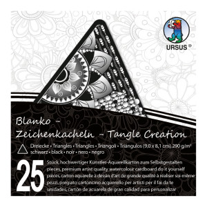 """Zeichenkacheln """"Tangle Creation"""" Dreieck 9 x 9 cm schwarz - 25 Kacheln mit Box"""