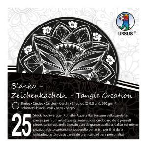 """Zeichenkacheln """"Tangle Creation"""" Kreis ø 9 cm schwarz - 25 Kacheln mit Box"""