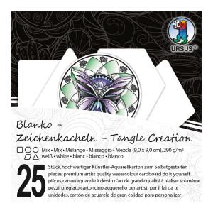 """Zeichenkacheln """"Tangle Creation"""" Mixed 9 x 9 cm hochweiß - 25 Kacheln mit Box"""