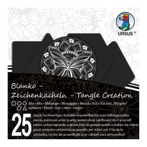 """Zeichenkacheln """"Tangle Creation"""" Mixed 9 x 9 cm schwarz - 25 Kacheln mit Box"""
