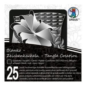 """Zeichenkacheln """"Tangle Creation"""" Quadrat 9 x 9 cm schwarz - 25 Kacheln mit Box"""