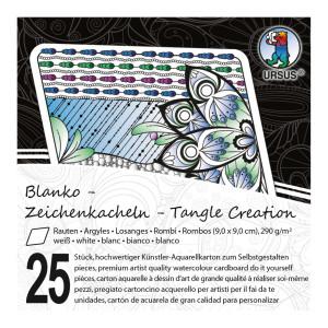 """Zeichenkacheln """"Tangle Creation"""" Raute 9 x 9 cm hochweiß - 25 Kacheln mit Box"""