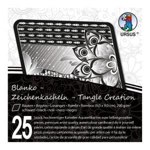 """Zeichenkacheln """"Tangle Creation"""" Raute 9 x 9 cm schwarz - 25 Kacheln mit Box"""