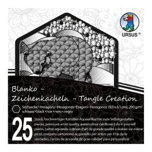 """Zeichenkacheln """"Tangle Creation"""" Sechseck 9 x 9 cm schwarz - 25 Kacheln mit Box"""